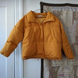 Spring Yellow Cropped Puffer Coat